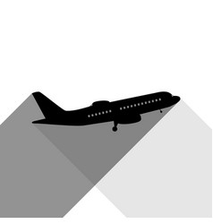 flying plane sign side view black icon vector image