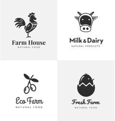 Fresh farm logos set labels for business vector