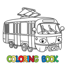 funny small tram with eyes coloring book vector image