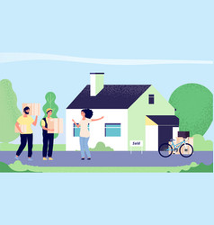girl moves new house woman moves with loaders vector image