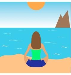Girl practicing yoga on the beach vector
