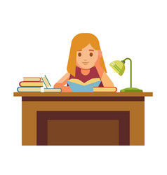 Girl sits at table with books and reads vector
