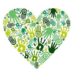 Go green hands love heart vector