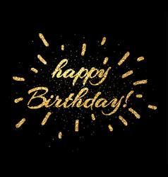 Gold happy birthday card on black vector