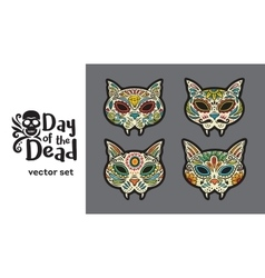 Greeting card with sugar skull cats Traditional vector