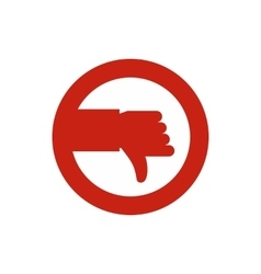 Hand down in circle icon flat style vector