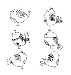 hand drawn set of birds isolated on white vector image