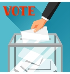 Hand putting voting paper in ballot box Political vector