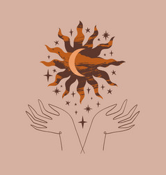 hands hold sun and crescent moon boho style art vector image