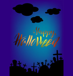 happy halloween greeting card spooky landscape vector image