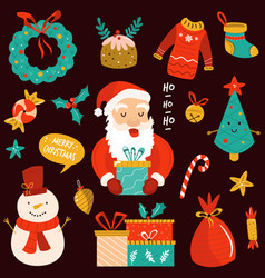 holiday set with santa claus cute snowman and vector image