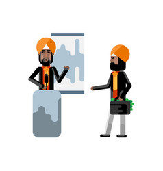 Indian sikh speaker doing business presentation vector