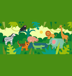 jungle with animals zebra monkey and hippo vector image