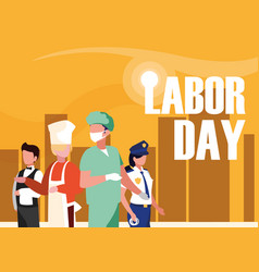 Labour day with group professionals and cityscape vector