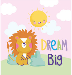 Little lion grass sun cloud cartoon cute text vector