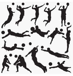 man volleyball silhouettes vector image