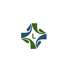 Medical herbal initial l vector