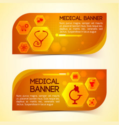 medicine orange horizontal banners set vector image