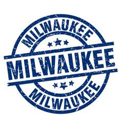 Milwaukee blue round grunge stamp vector