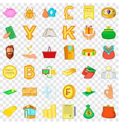 money heap icons set cartoon style vector image