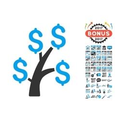Money Tree Icon With 2017 Year Bonus Symbols vector