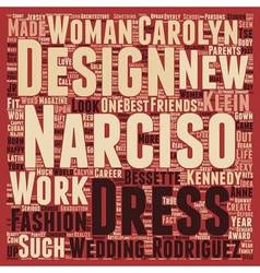 Narciso Rodriguez text background wordcloud vector image
