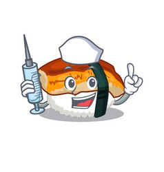 Nurse sushi unagi isolated in cartoon vector