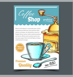 old manual coffee grinder and cup poster vector image