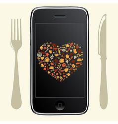 Phone With Food Icons vector