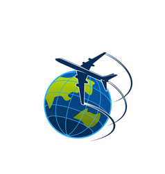 Plane and globe travel or express post icon vector