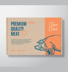 premium quality pork meat packaging label vector image