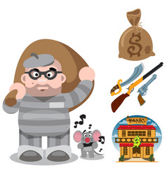 prisoner robber with a big bag of loot wild west vector image