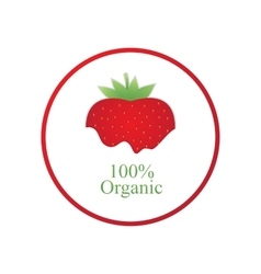 Red strawberry organic label vector