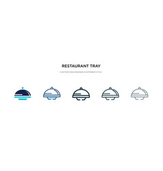 Restaurant tray icon in different style two vector