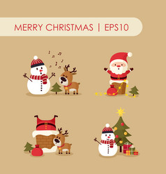 Santa claus with deer and snowman vector