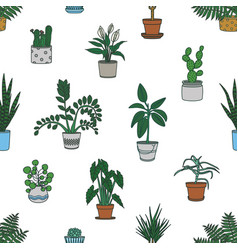 seamless pattern with houseplants growing in vector image