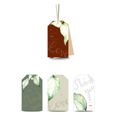 Set classic tags with hand drawn watercolor vector
