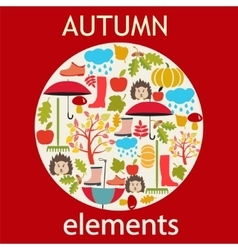 set of autumn themed objects vector image vector image