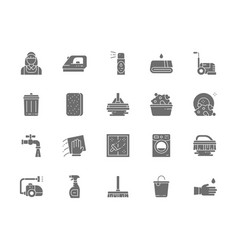 Set of cleaning grey icons housewife iron towel vector