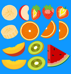 set of fruit halves slices of apple peach kiwi vector image