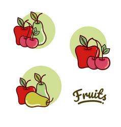set of fruits cartoon vector image vector image