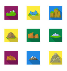 set of icons about different mountains winter vector image