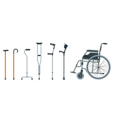 set of mobility aids including a wheelchair vector image