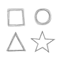 Set of sketchy scribble line shape frames vector