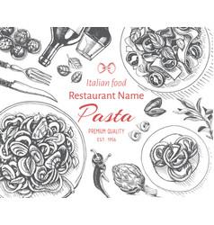 sketch - pasta card menu vector image