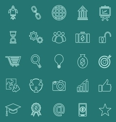 Start up line color icons on green background vector