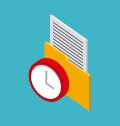 storage yellow folder with letter red clock vector image