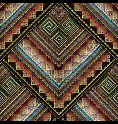 Striped tribal embroidery seamless pattern vector