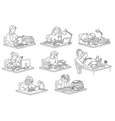 students sitting at table reading and studying in vector image