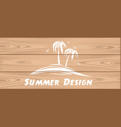Summer logo on a wooden background vector